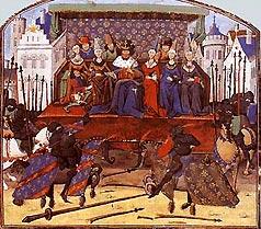 Английский король Эдуард III судит турнирный поединок